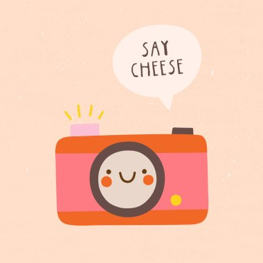 funny pink camera icon