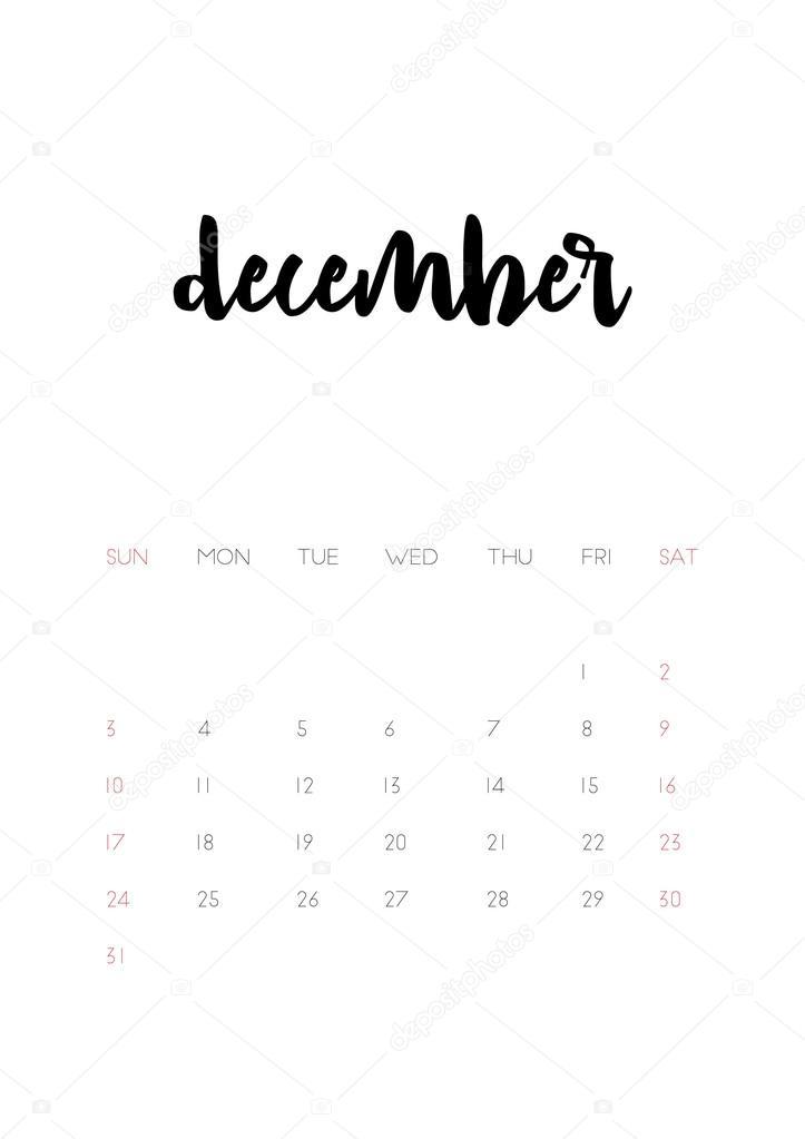 Página De Calendário De Dezembro De 2017 Vetor De Stock
