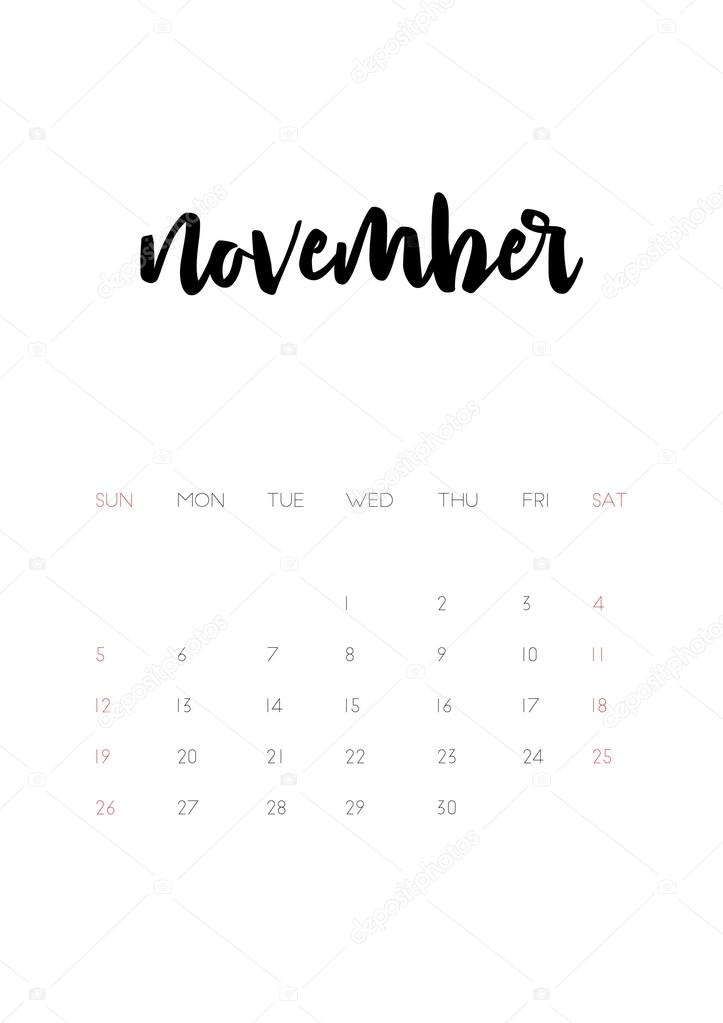 november 2017 calendar page stock vector. Black Bedroom Furniture Sets. Home Design Ideas