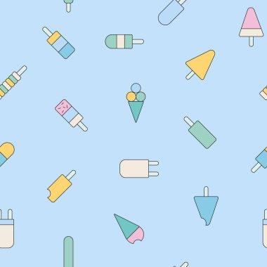 Ice Cream icons seamless pattern.