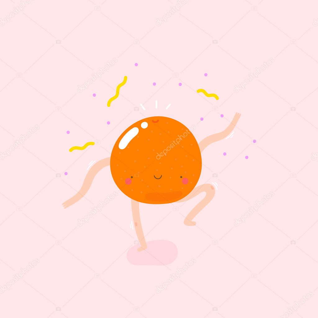 cute illustration with Dancing Orange