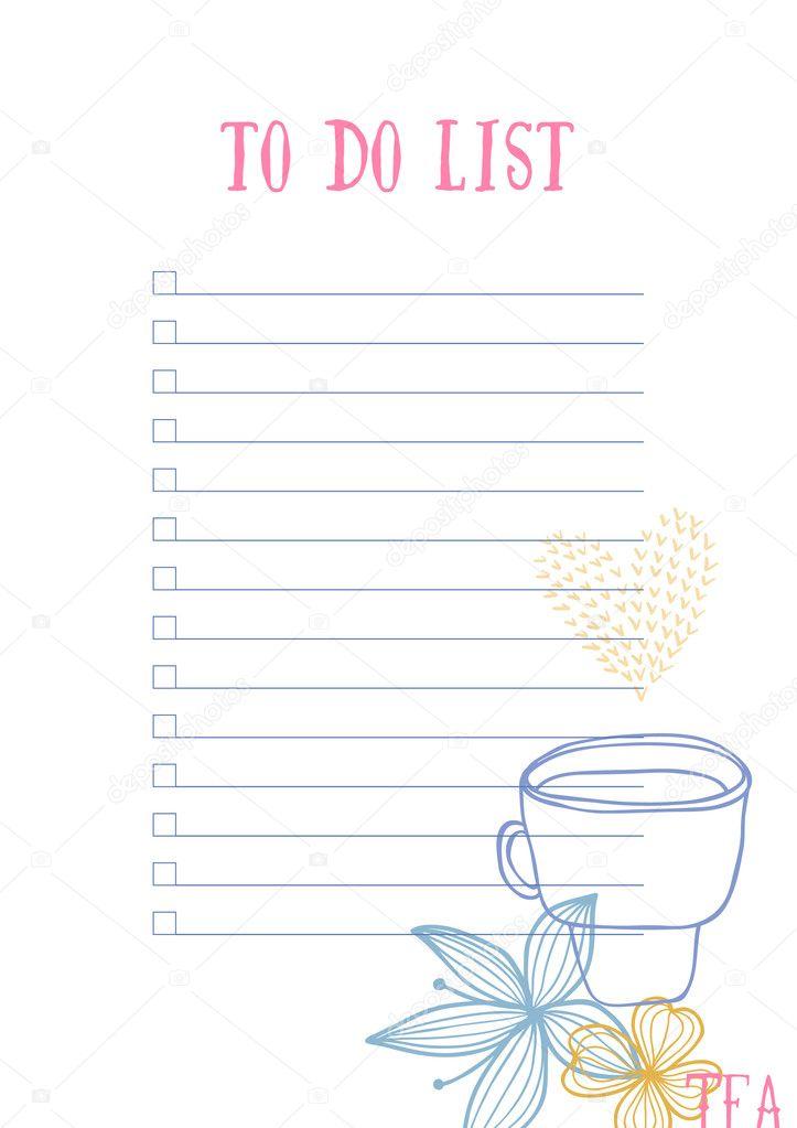 To Do List template — Stock Vector © iliveinoctober #128327610