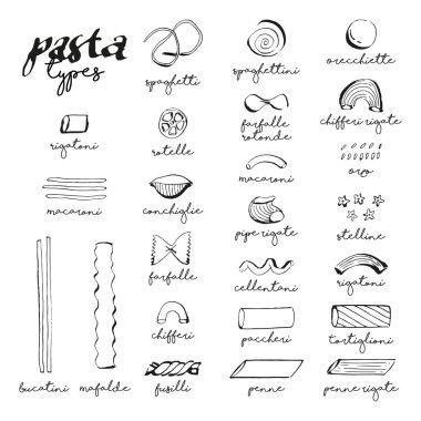 collection of Italian Pasta Types