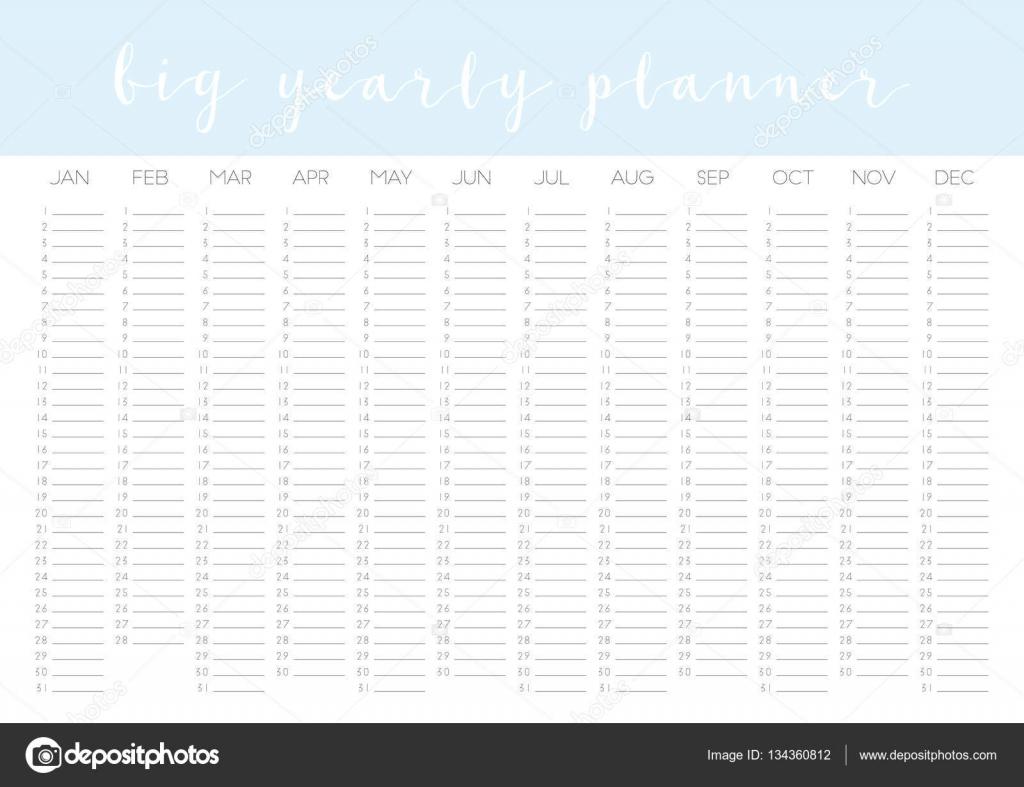 Anual Calendario plantilla en blanco — Archivo Imágenes Vectoriales ...