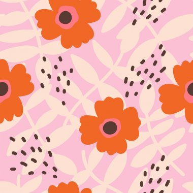seamless texture with flowers, leaves and abstract strokes