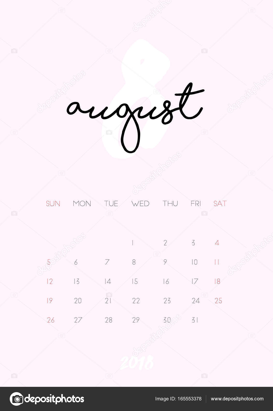 calendar - August 2018 — Stock Vector © iliveinoctober #165553378