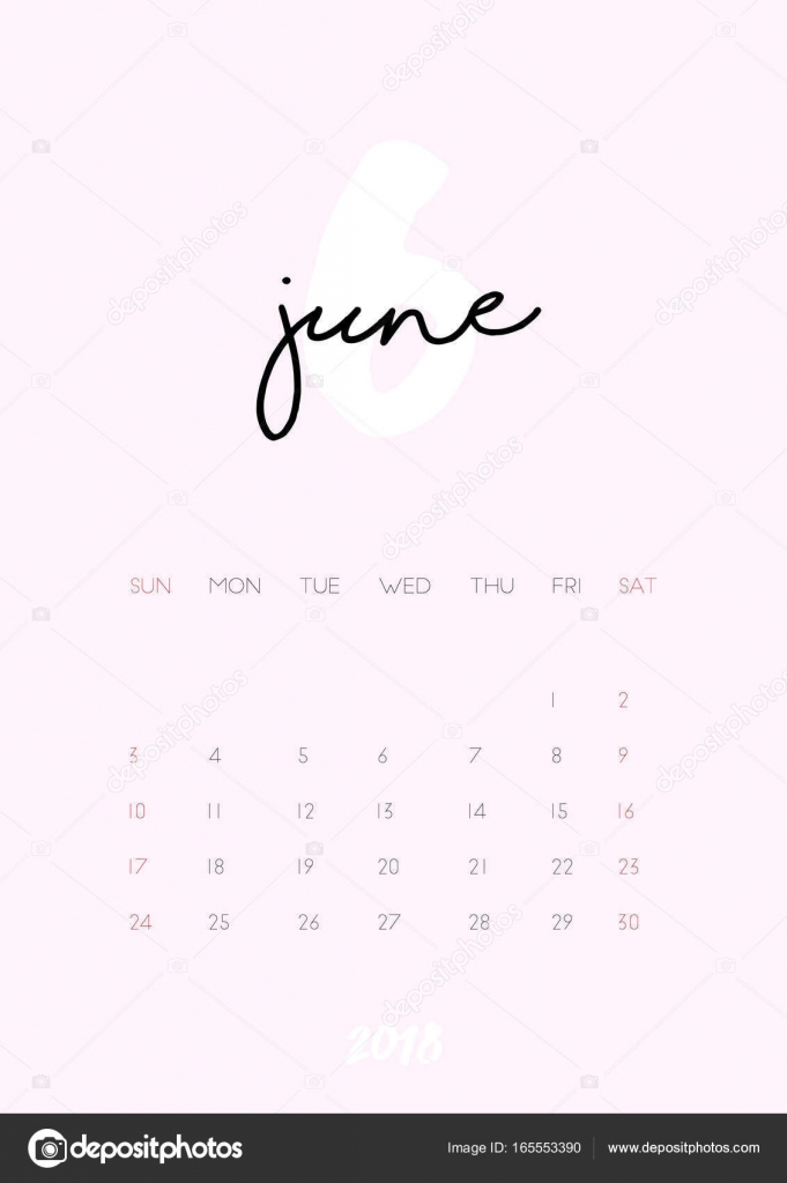 Kalender - Juni 2018 — Stockvektor © iliveinoctober #165553390
