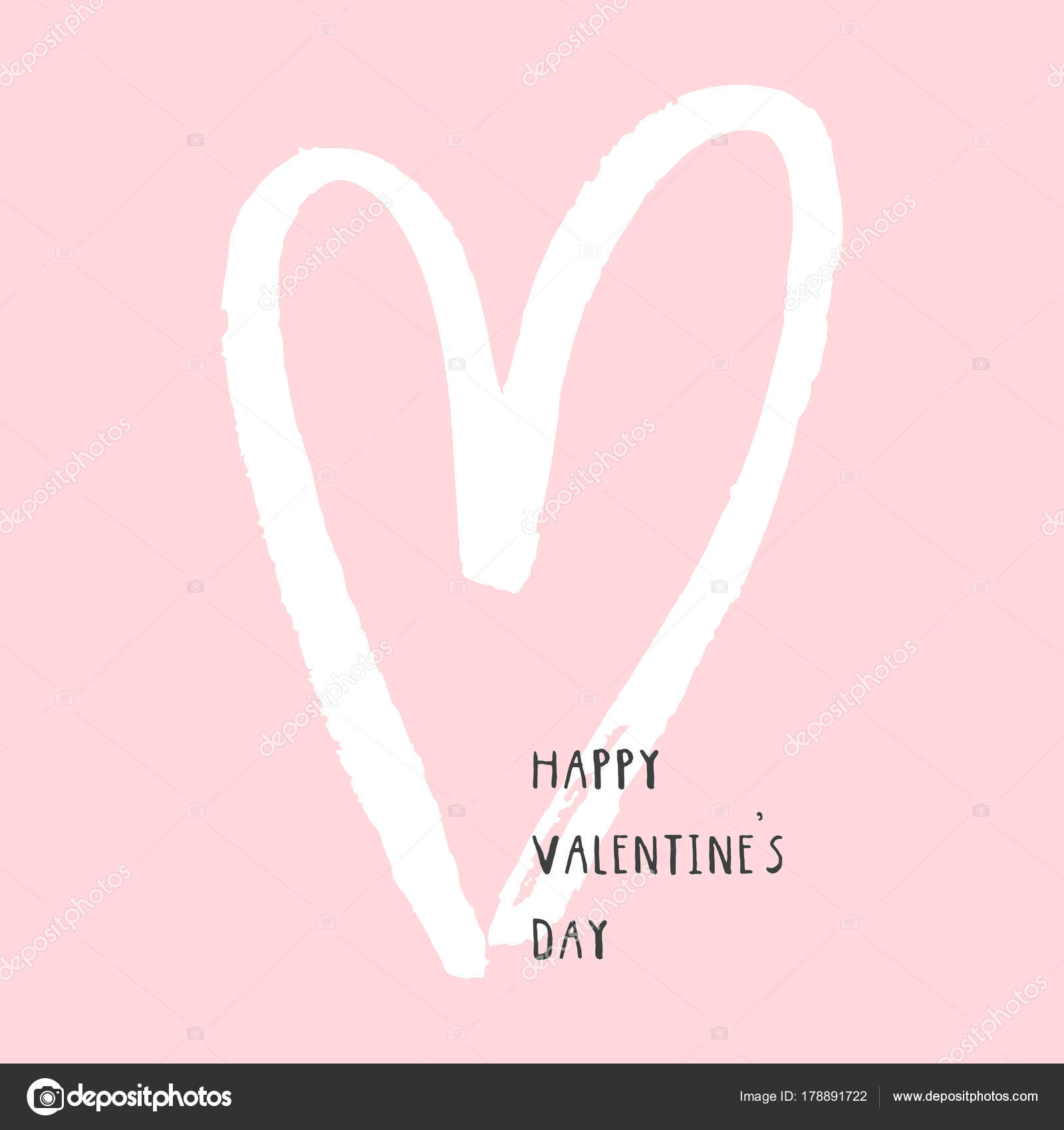 Cute Simple Valentine Day Background Heart Happy Valentine Day Card