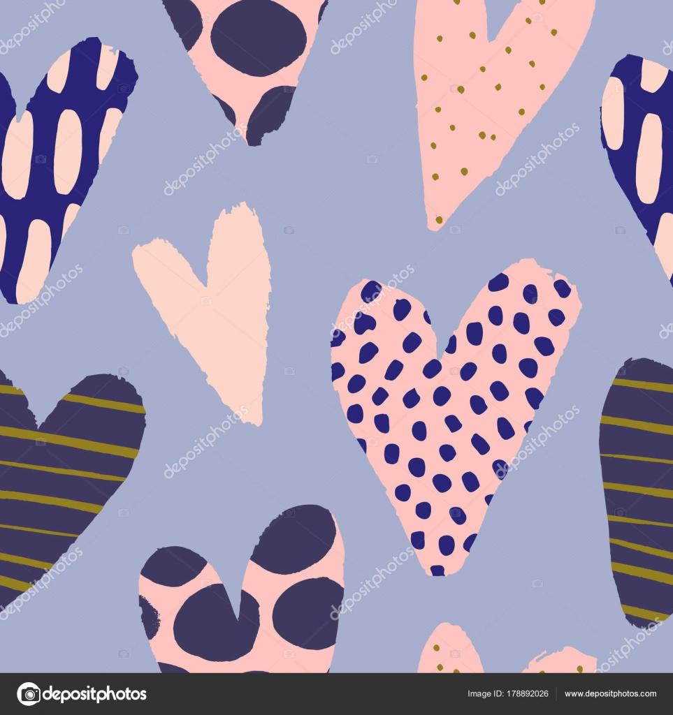 Roztomily Vzor Bezesve Srdicky Valentyna Vektor Textury Rukou