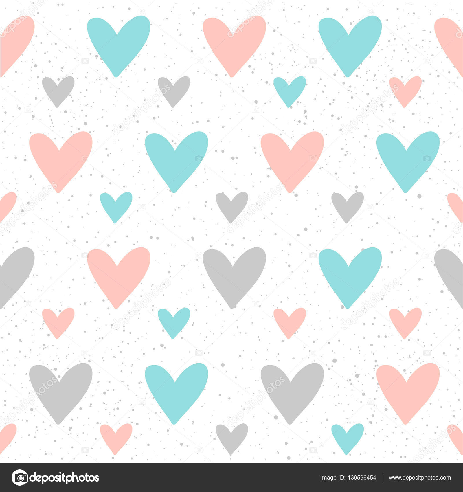 heart seamless pattern background doodle handmade blue pink and