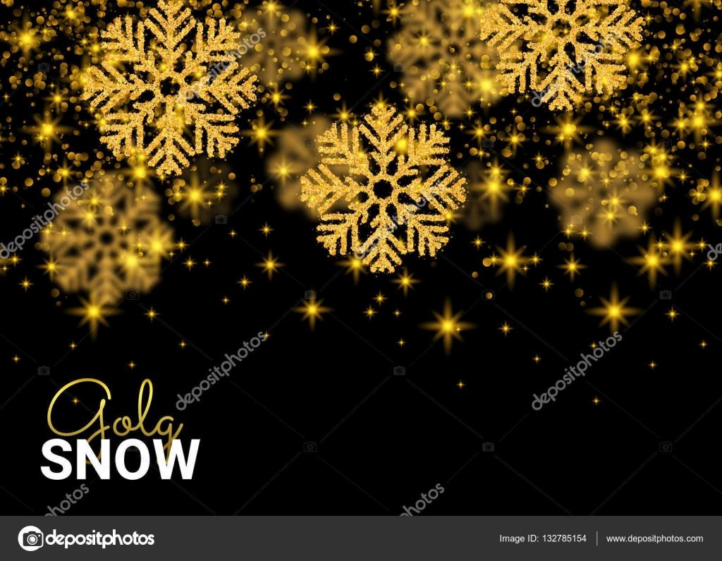 Fiocchi Di Neve Di Carta Modelli : Modello astratto su priorità bassa nera fiocchi di neve oro cade