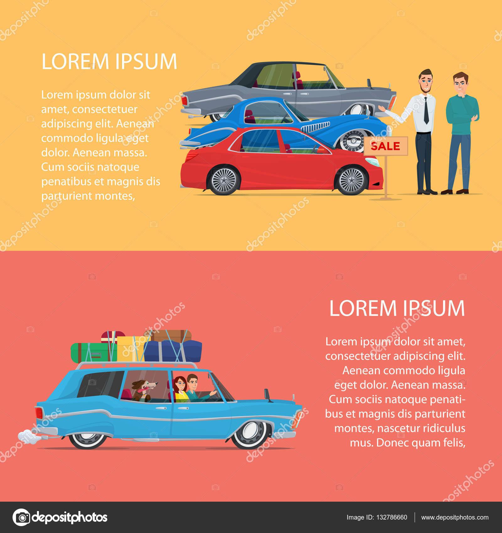 Comprar un coche para la familia. Ilustración de vector de cartel ...