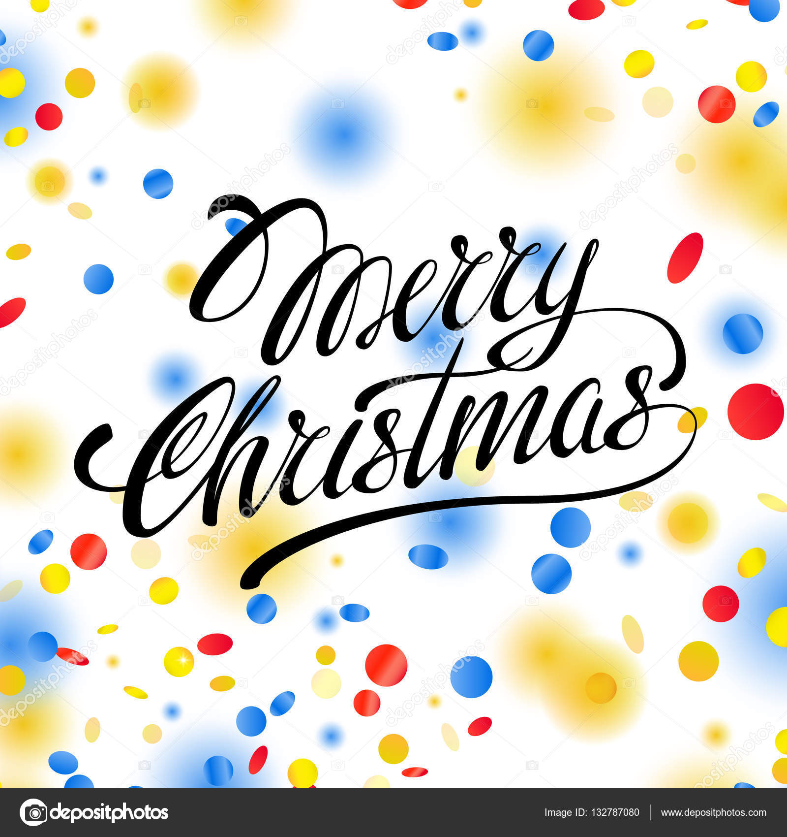 Christmas card with confetti and ribbons. Vector illustration for ...
