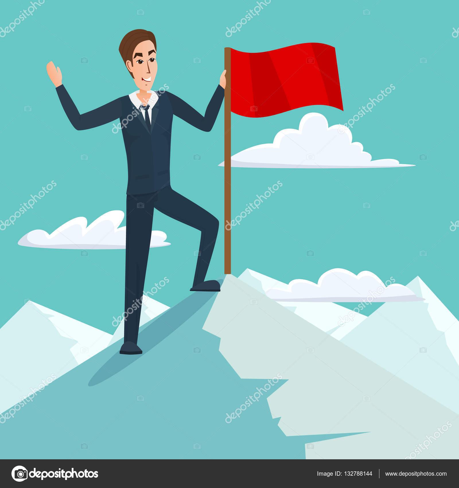 Empresario con bandera en el pico de la montaña, éxito y misión, motivación  de Victoria blanco, ganador en la parte superior. Concepto de negocio de  dibujos ...