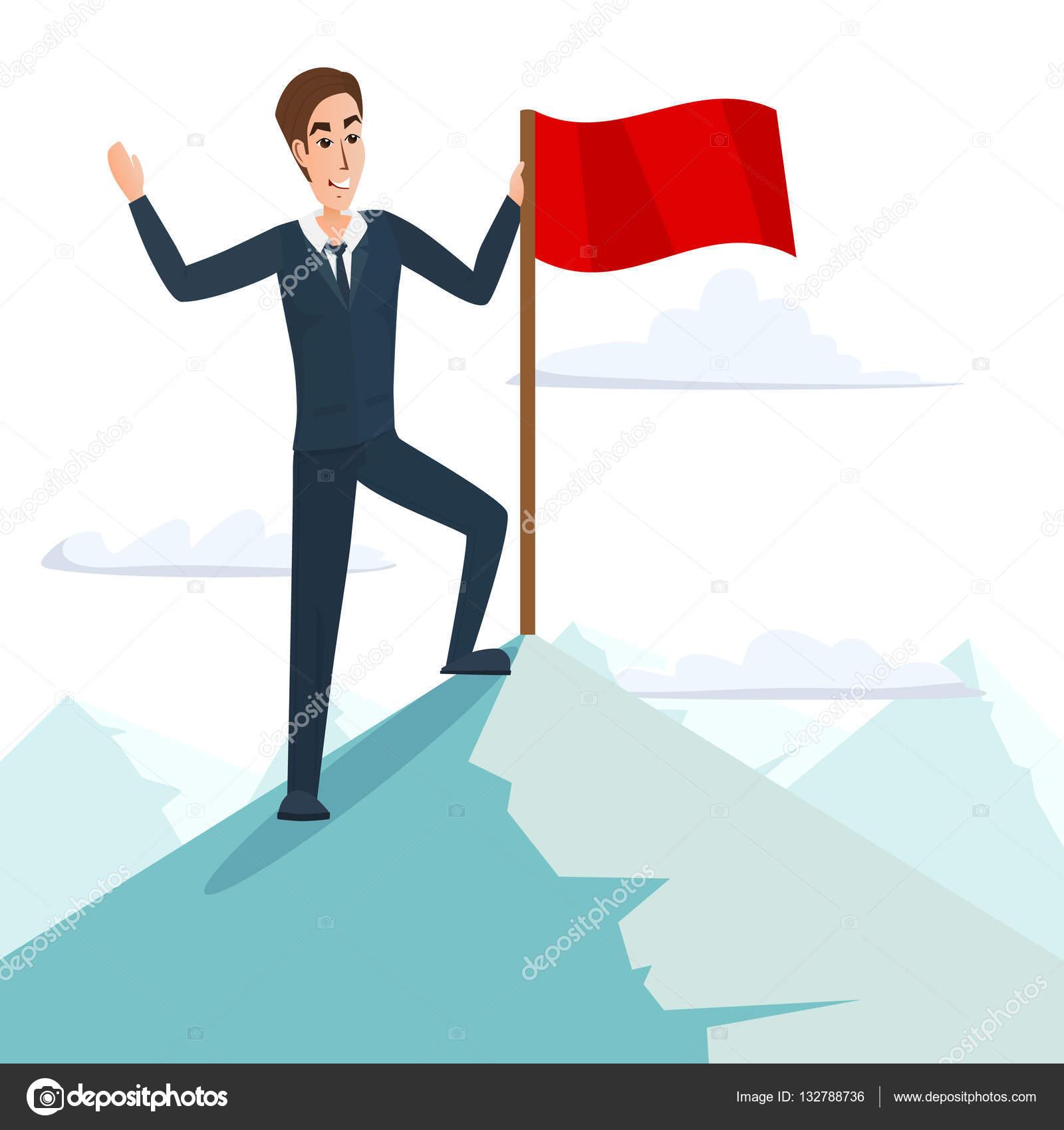 ... bandera en la cima de una montaña, éxito y misión, motivación de  Victoria blanco, ganador en la parte superior. Concepto de negocio de  dibujos animados.