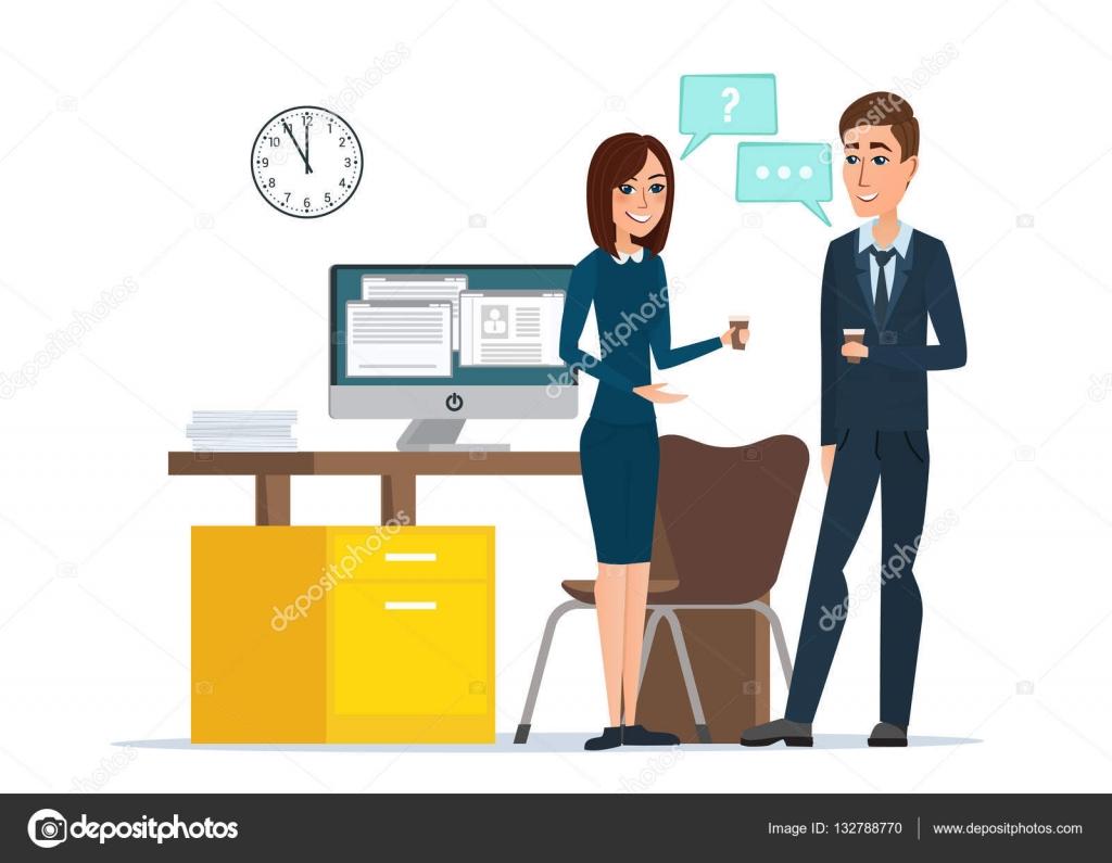 Niña Y Hombre Empresarios Hablando De Oficina. Trabajo
