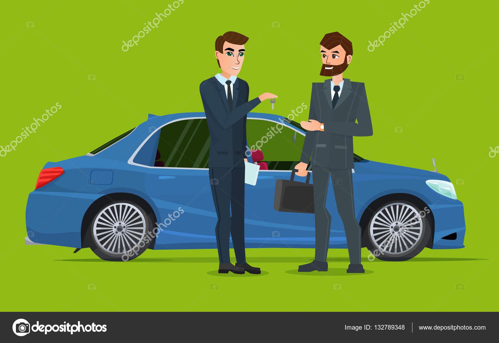 Ein Autoverkauf an anderen Menschen übergeben. Ein zeitgenössischer ...