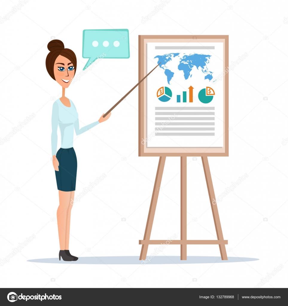 mujer de negocios apuntando a un tablero de la carta