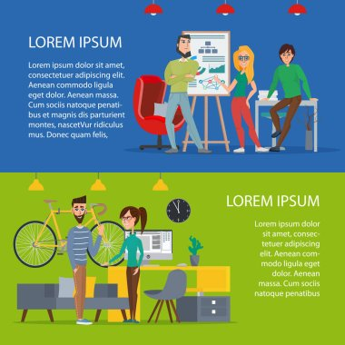 Business characters scene. Teamwork in modern business office. Cartoon poster vector illustration. Banners set for your web design in business style. Template for your text.