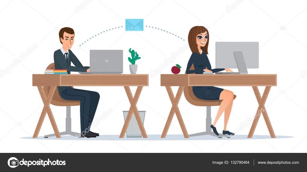 homme et femme l cran d ordinateur correspondances employ s de bureau pour correspondre par. Black Bedroom Furniture Sets. Home Design Ideas