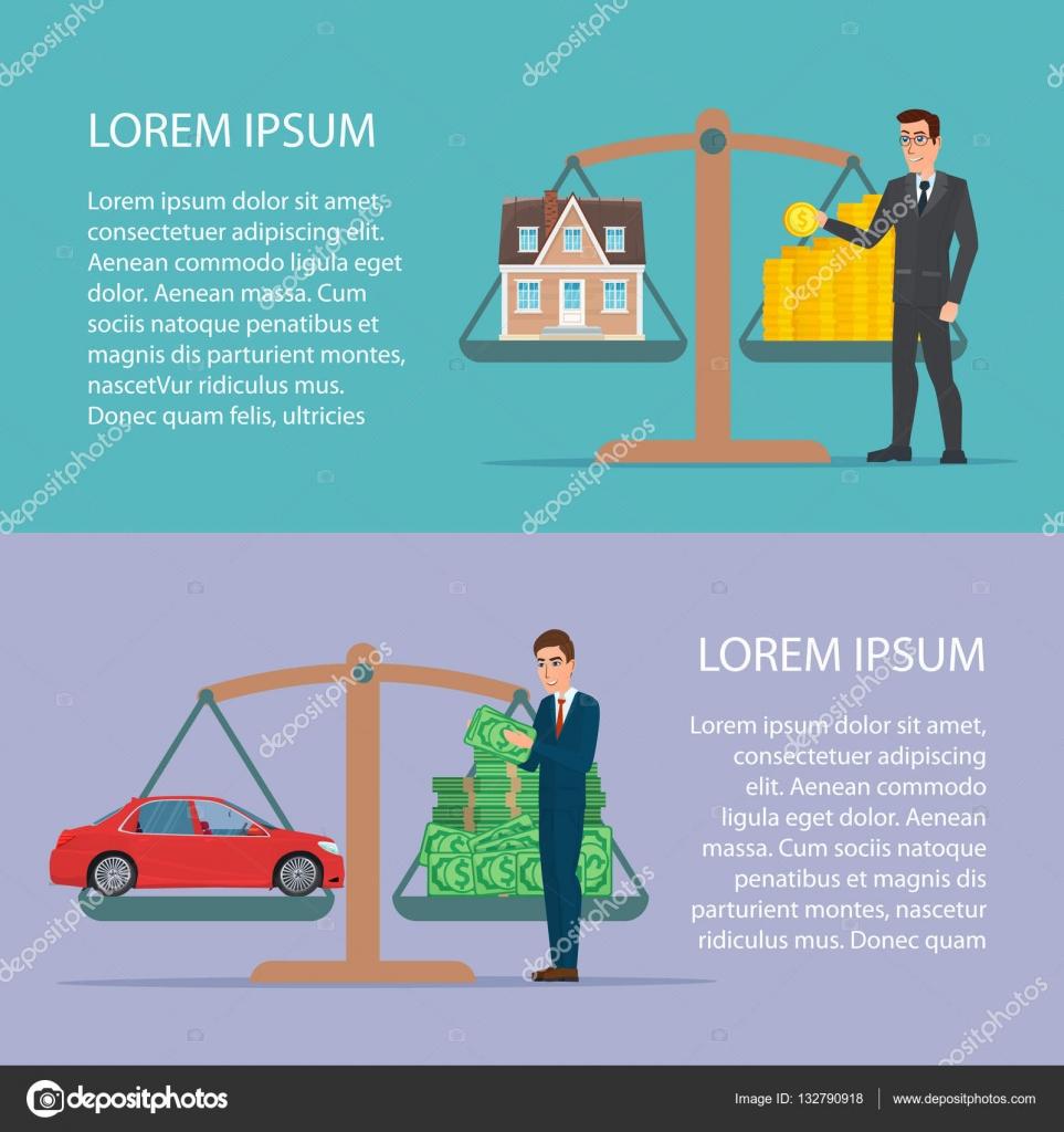 Ahorrar dinero para el coche y propiedad de casa activo diseño plano ...