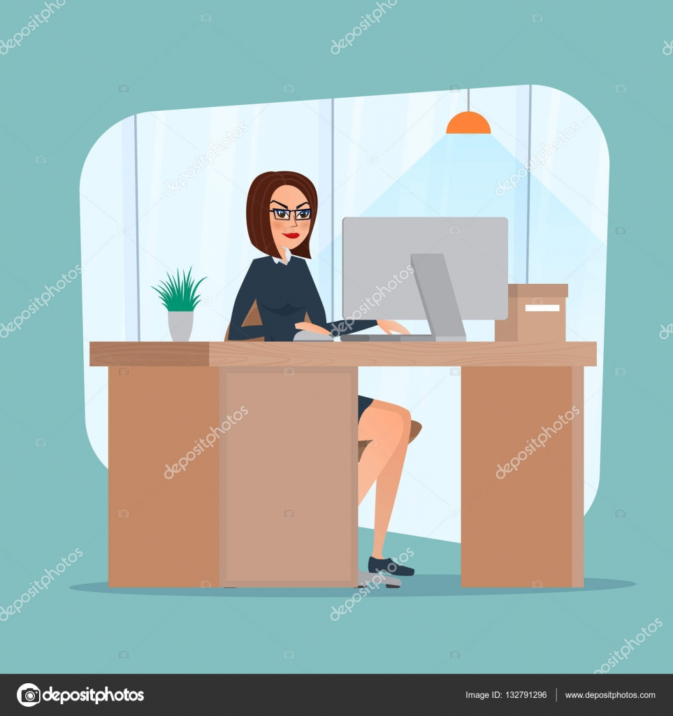 business woman lady entrepreneur in a suit working on a computer office desk/ hutch quality computer office desk chair