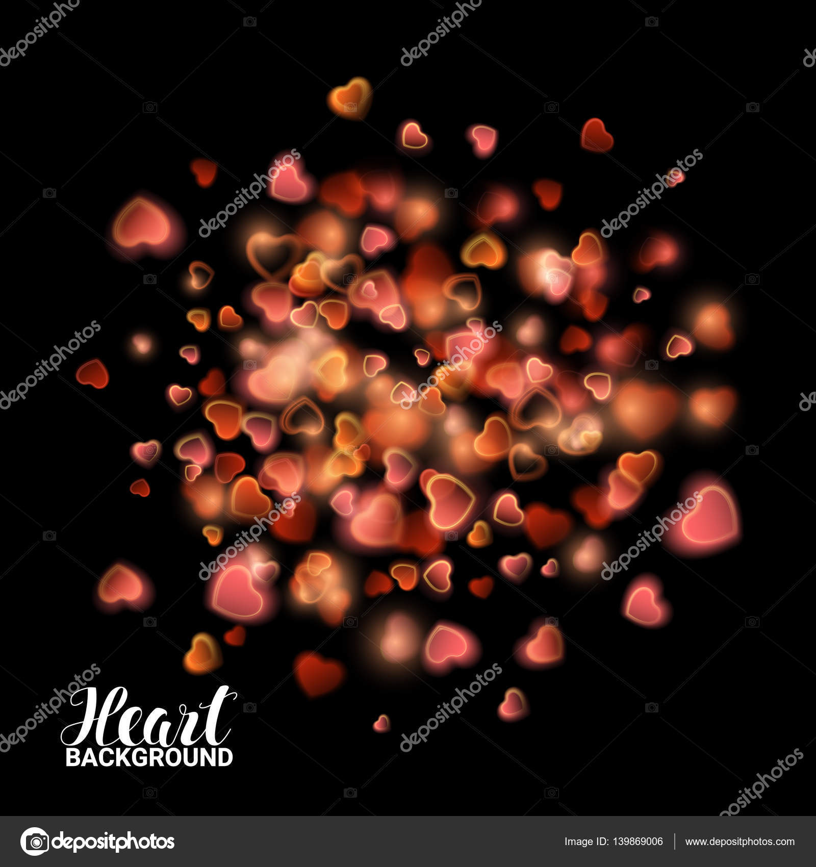 Red and Pink Gold Heart from Dust Firework Explosion Burst on black