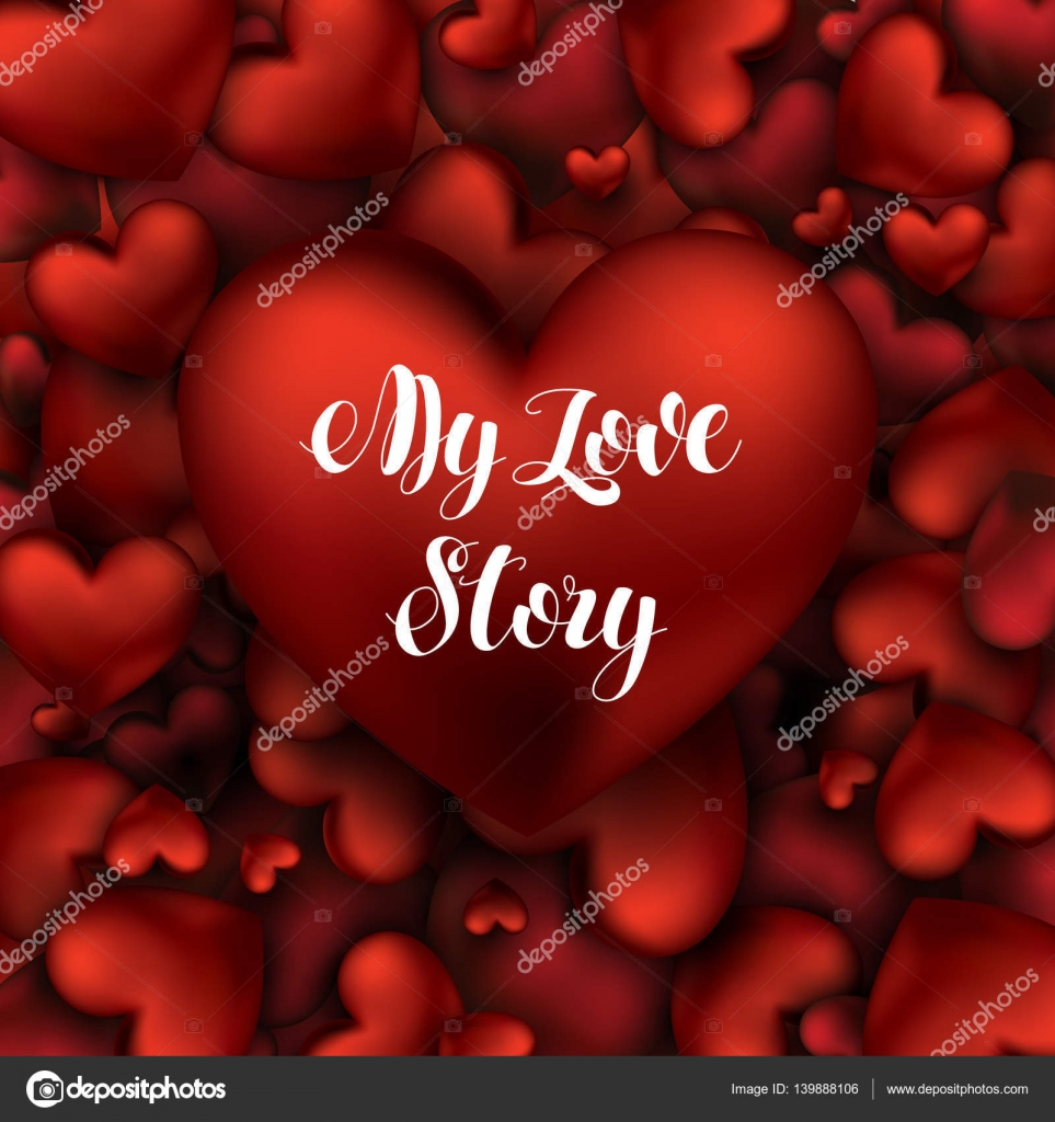 Big Red Heart With The Inscription My Love Story Lettering. Romantic Quote.  Shiny Explosion