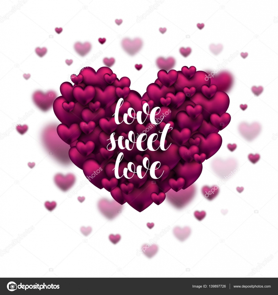 Hand Sketched Love Sweet Love Text. Pink Hearts. Saint Valentineu0027s Day  Typography. Drawn Lettering For Card Template Banner Flyer. Romantic Quote.