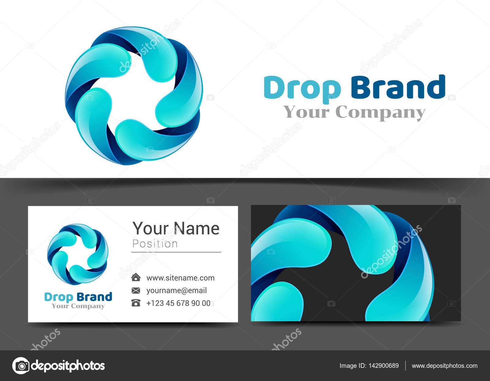 Circle Water Drop Corporate Logo and Business Card Sign Template ...