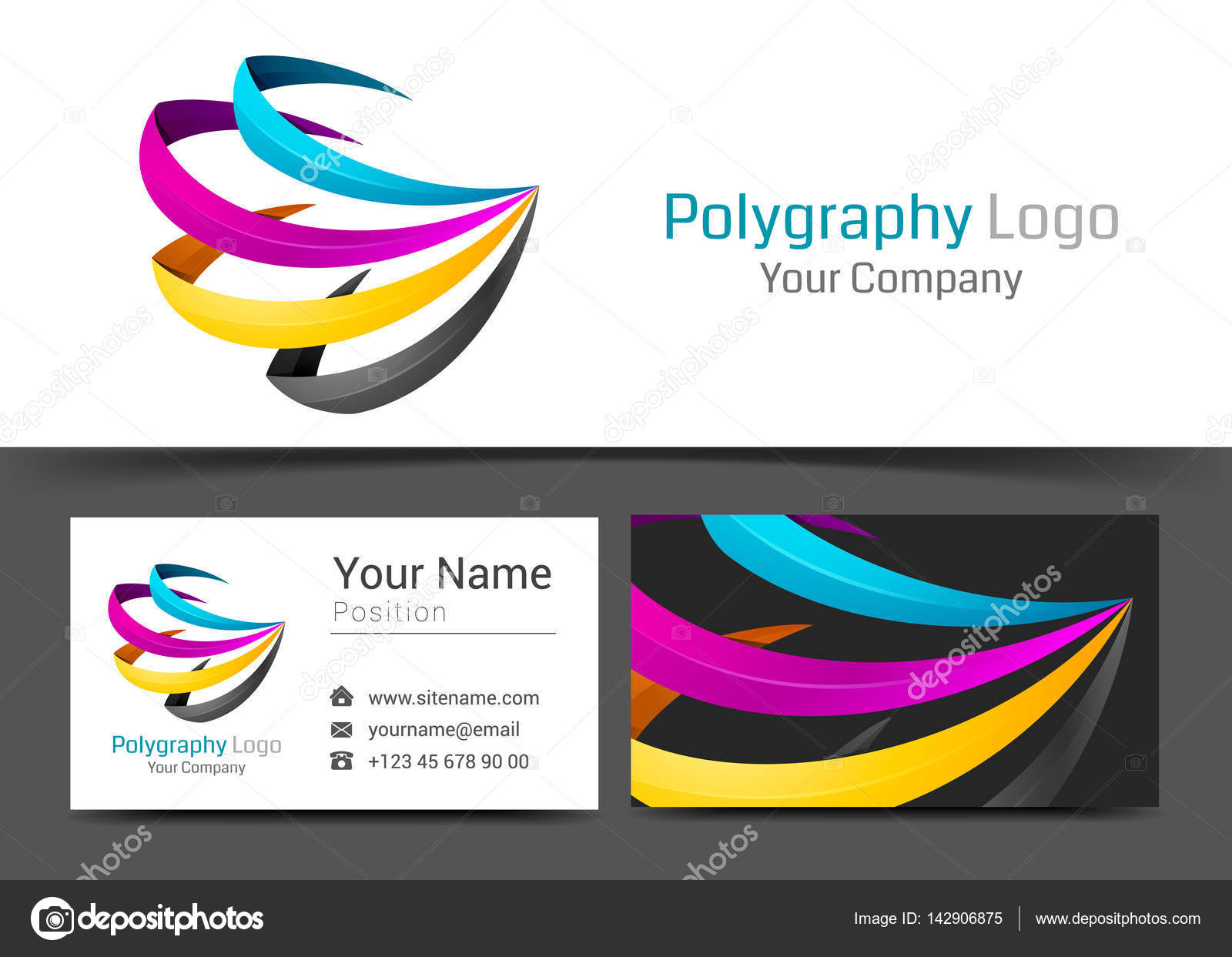 CMYK Printing Corporate Logo and Business Card Sign Template ...