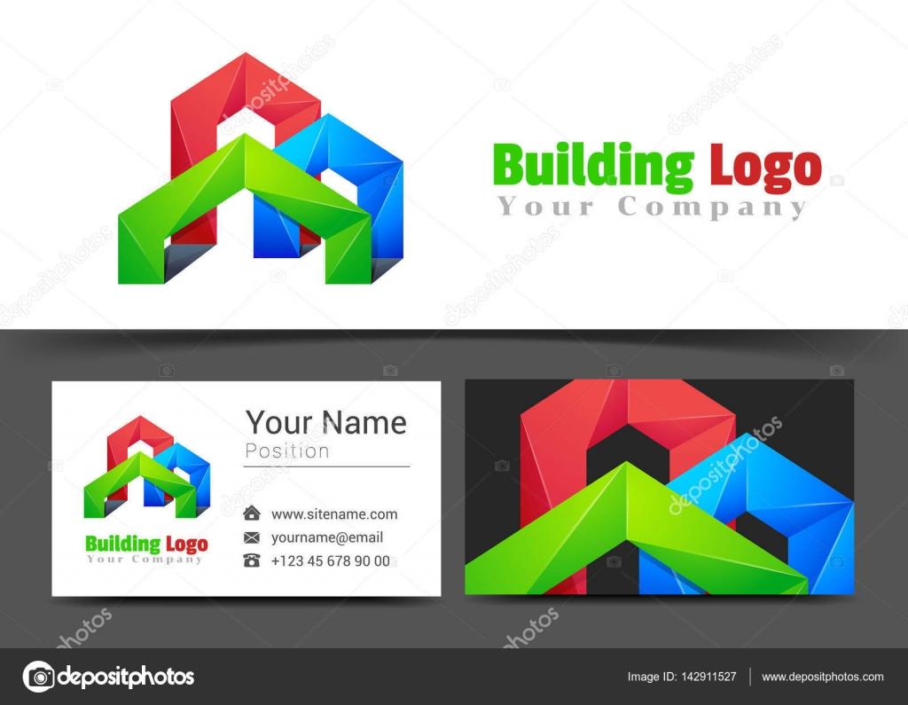 Real Estate Building Corporate Logo and Business Card Sign ...