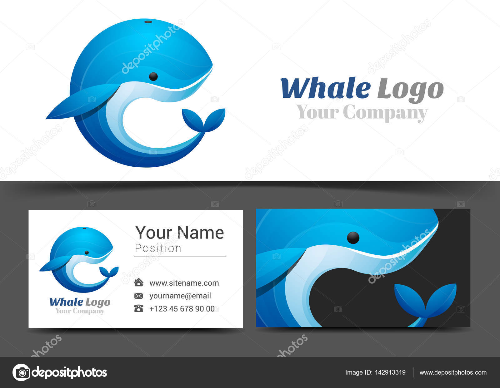 Blue whale corporate logo and business card sign template blue whale corporate logo and business card sign template creative design with colorful logotype visual magicingreecefo Images