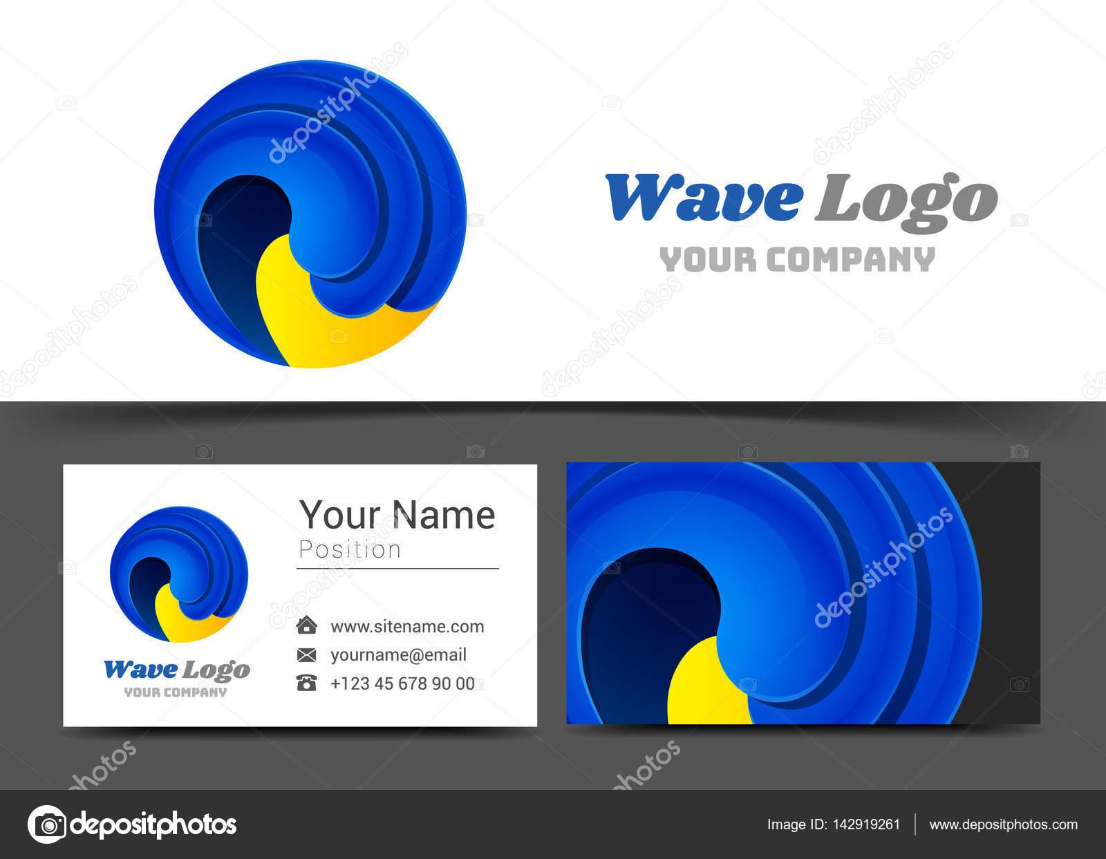 Onda de agua Aqua logotipo y tarjeta de presentación muestra ...
