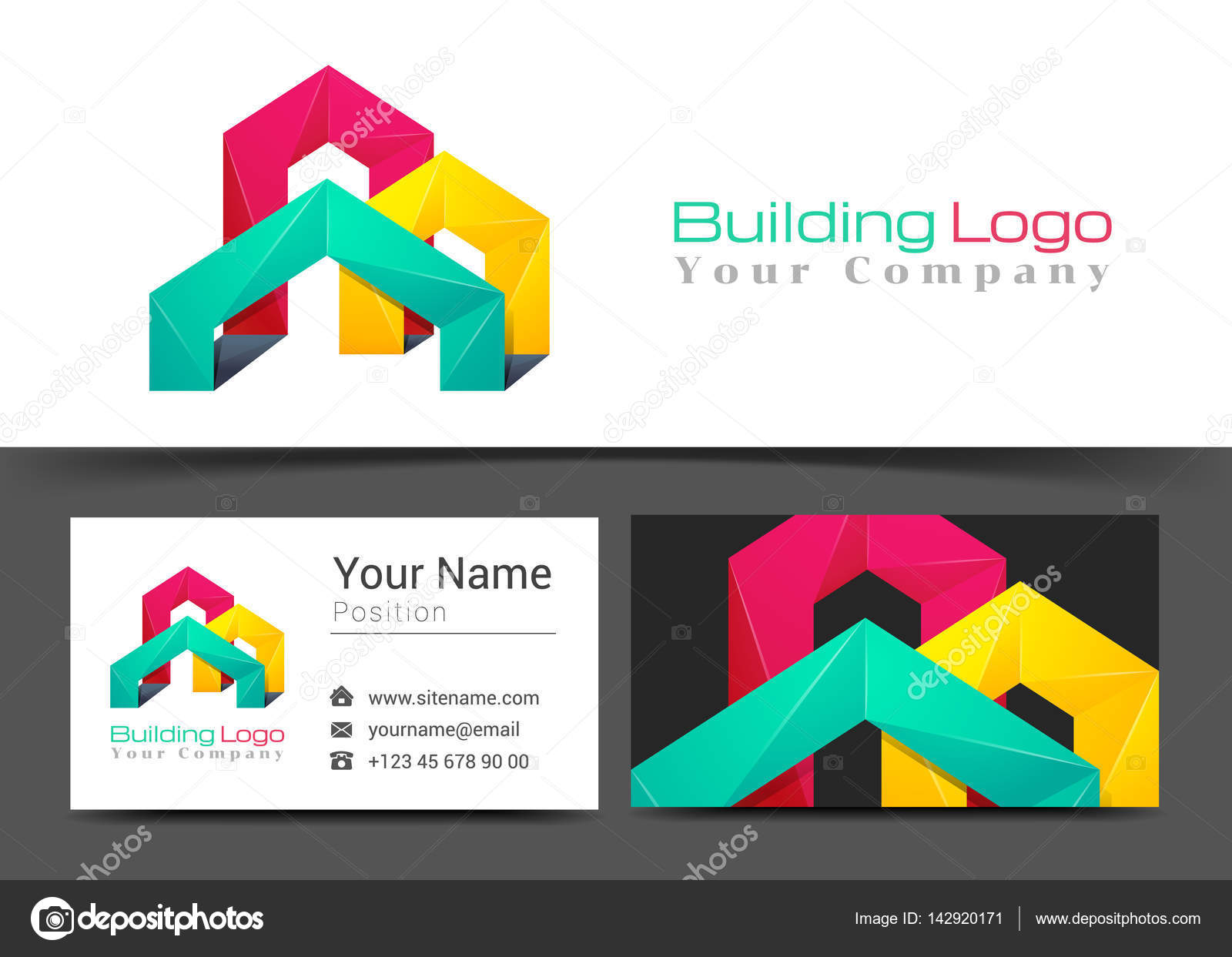 Logo Dentreprise De Batiment Et Le Modele Signe Carte Visite Design Creatif Avec Colore Logotype Identite Visuelle Composition Faite Delement