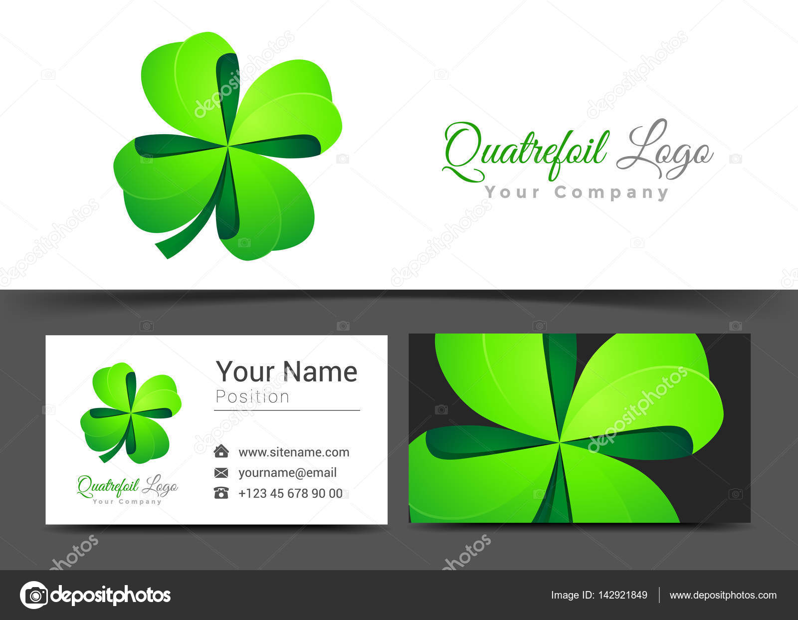 Four Leaf Green Clover. Lucky Quatrefoil. Good Luck Corporate Logo ...