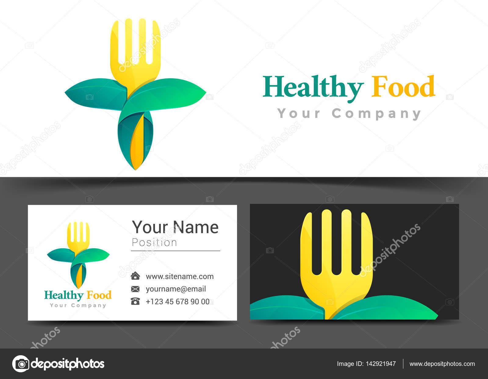 Logotipo corporativo de comida orgánica y plantilla de tarjeta de ...