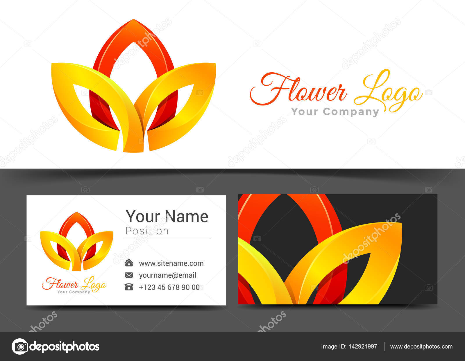 Lotus Flower Red and Yellow Yoga Corporate Logo and Business Card ...