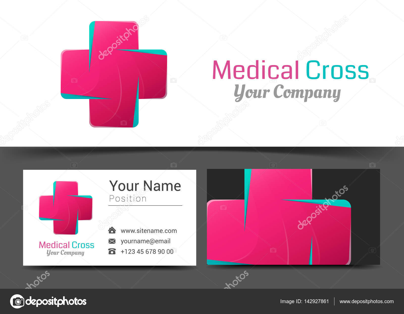 medical pharmacy corporate logo and business card sign template