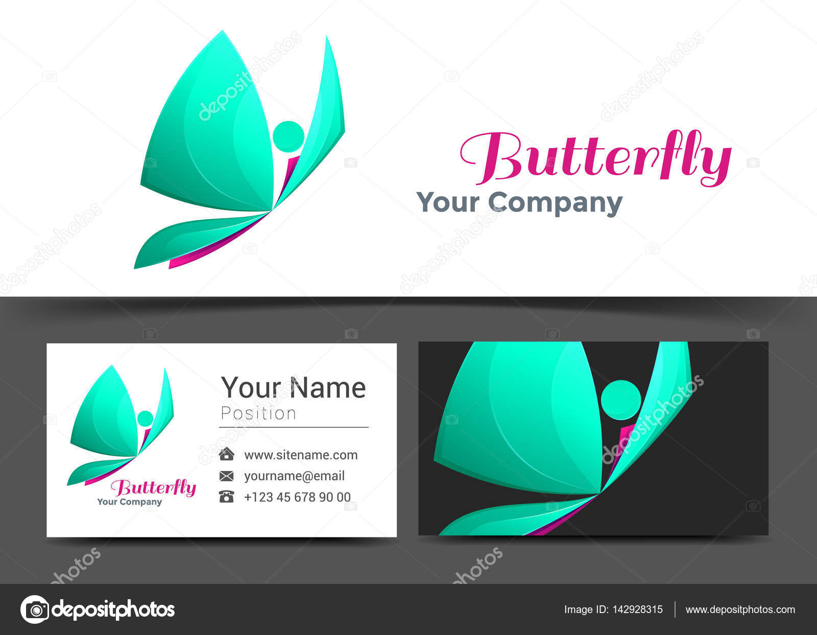 Butterfly corporate logo and business card sign template creative butterfly corporate logo and business card sign template creative design with colorful logotype visual identity magicingreecefo Images