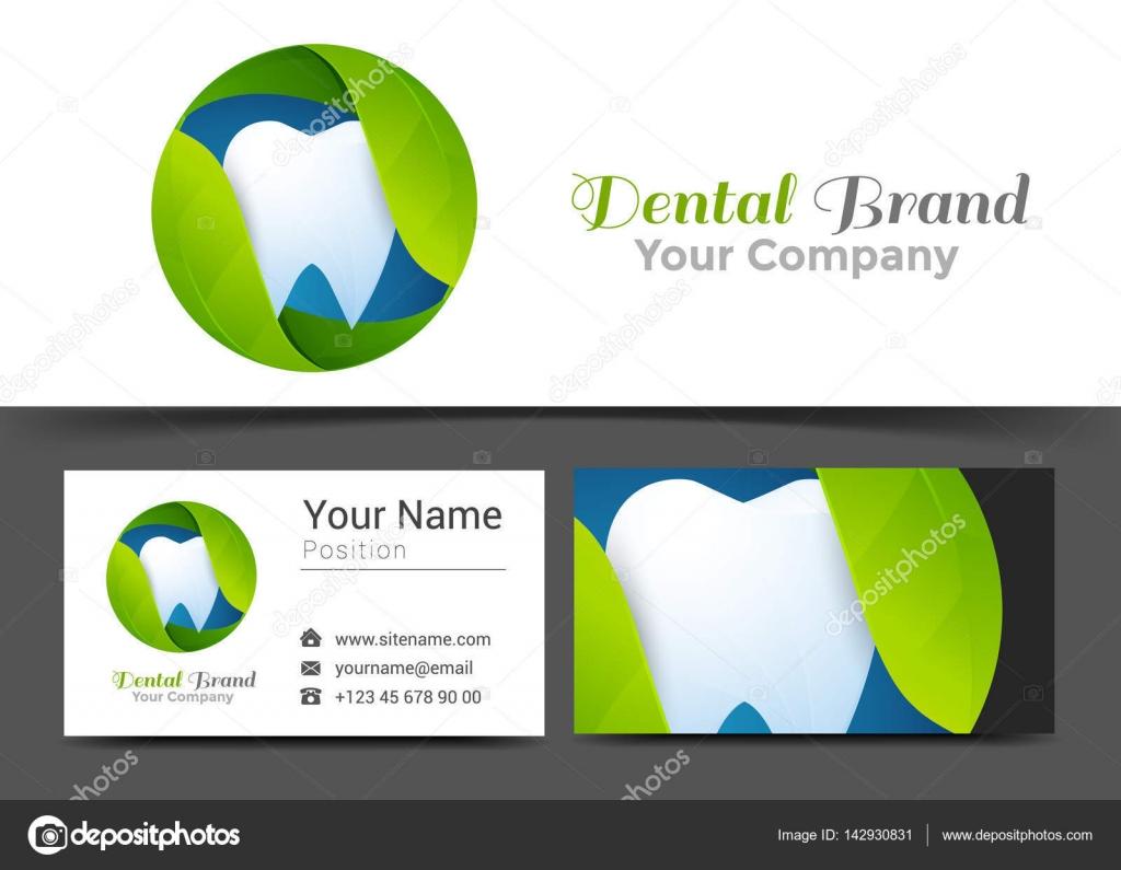 Blätter Zahn Corporate Logo Und Visitenkarte Zeichen Vorlage