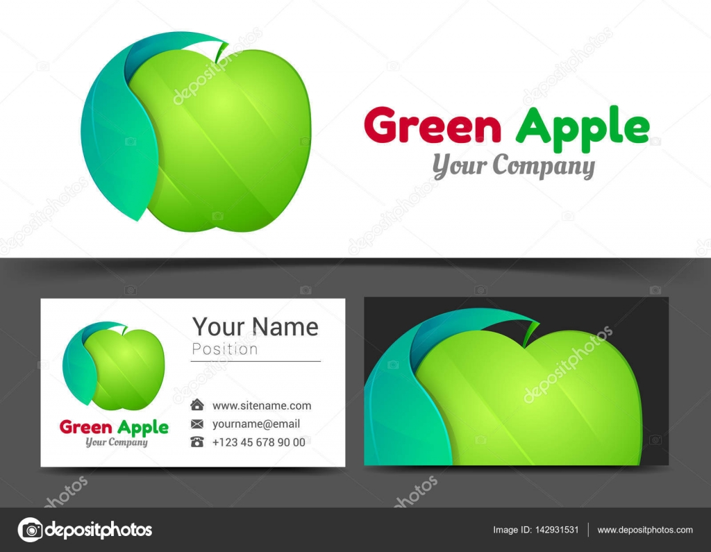 Green Apple Corporate Logo and Business Card Sign Template. Creative ...