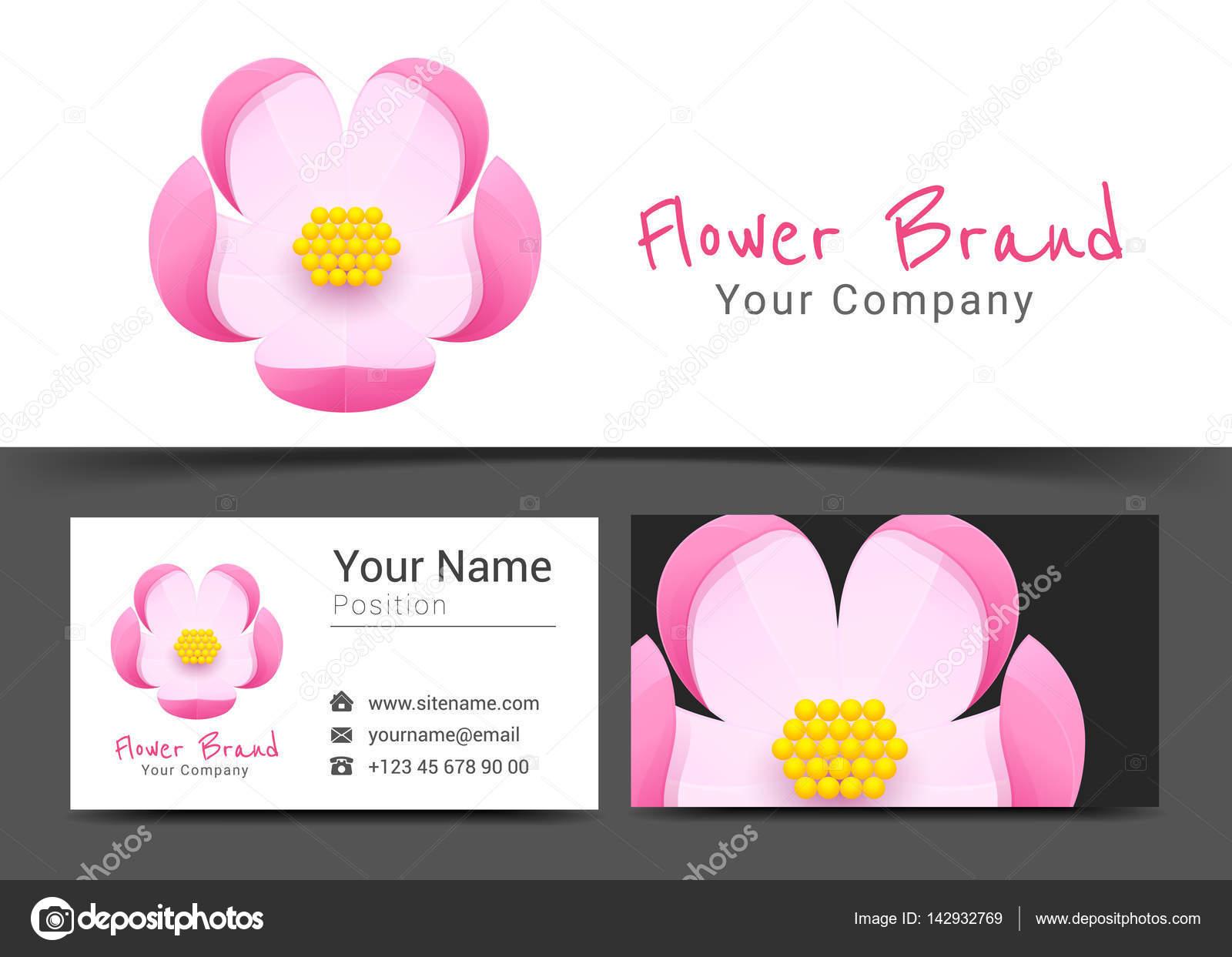 Logotipo y plantilla de tarjeta de presentación muestra la flor ...