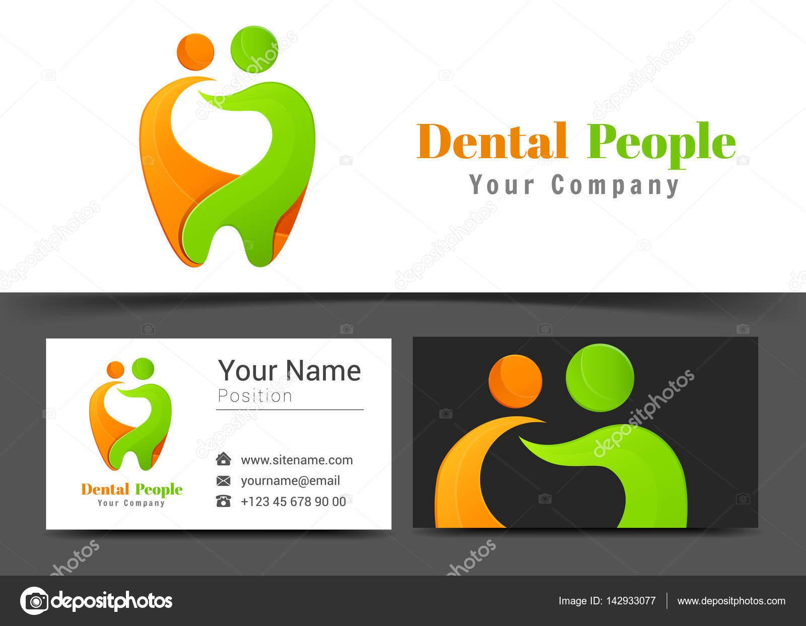 Menschen Gesunder Zahn Zahnpflege Logo Und Visitenkarte Sign