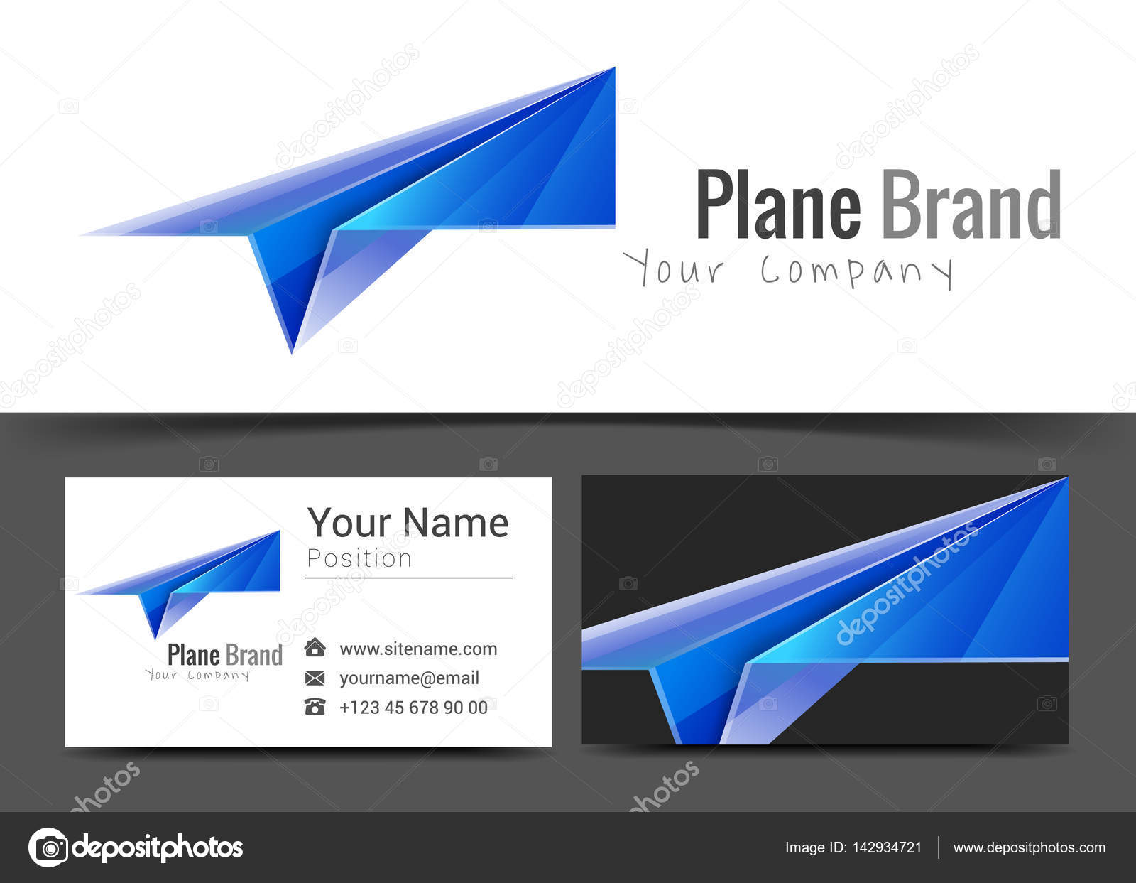 start up paper plane corporate logo and business card sign template