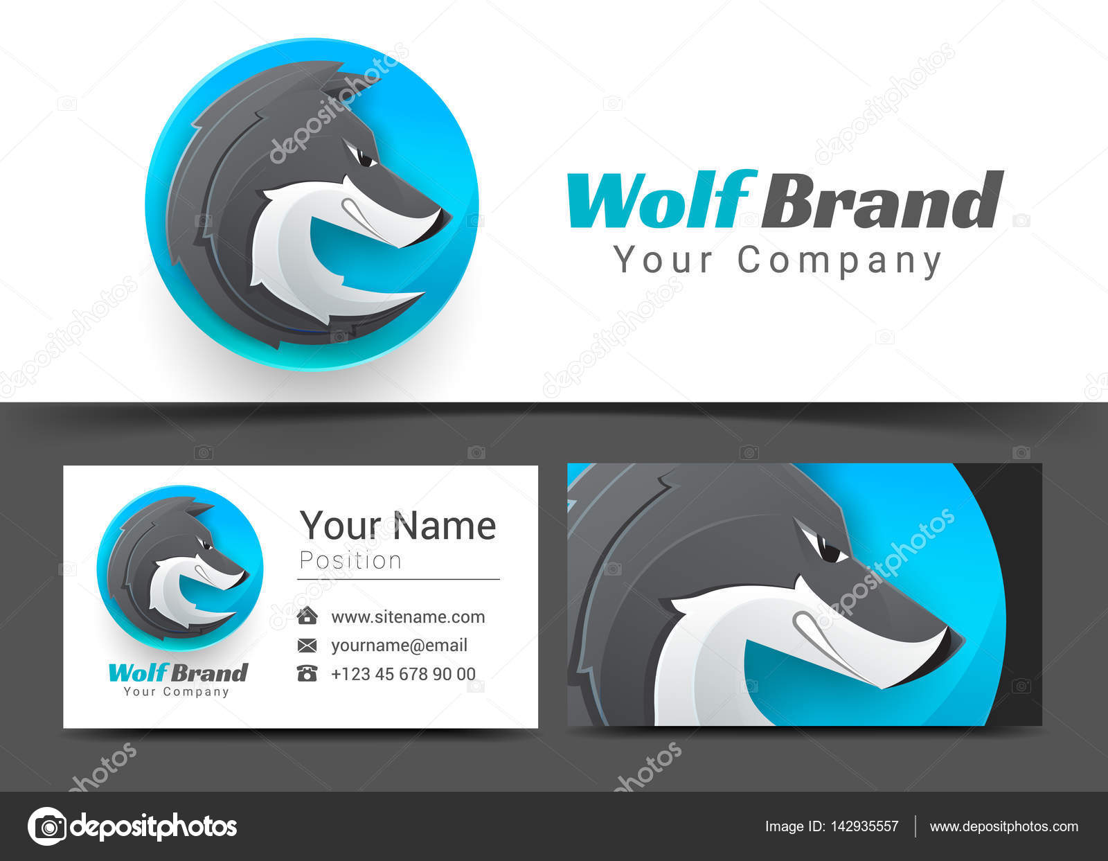 Dog wolf corporate logo and business card sign template creative dog wolf corporate logo and business card sign template creative design with colorful logotype visual magicingreecefo Images