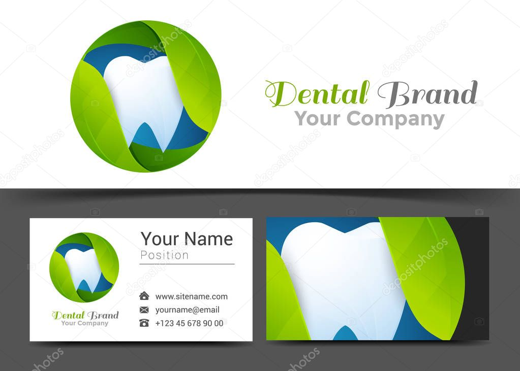 Leaves Tooth Corporate Logo and Business Card Sign Template. Creative Design with Colorful Logotype Visual Identity Composition Made of Multicolored Element. Vector Illustration
