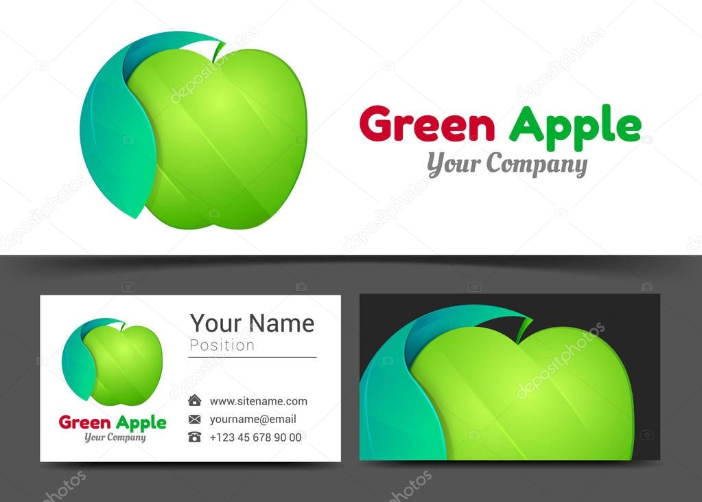 Green Apple Corporate Logo and Business Card Sign Template. Creative Design with Colorful Logotype Visual Identity Composition Made of Multicolored Element. Vector Illustration