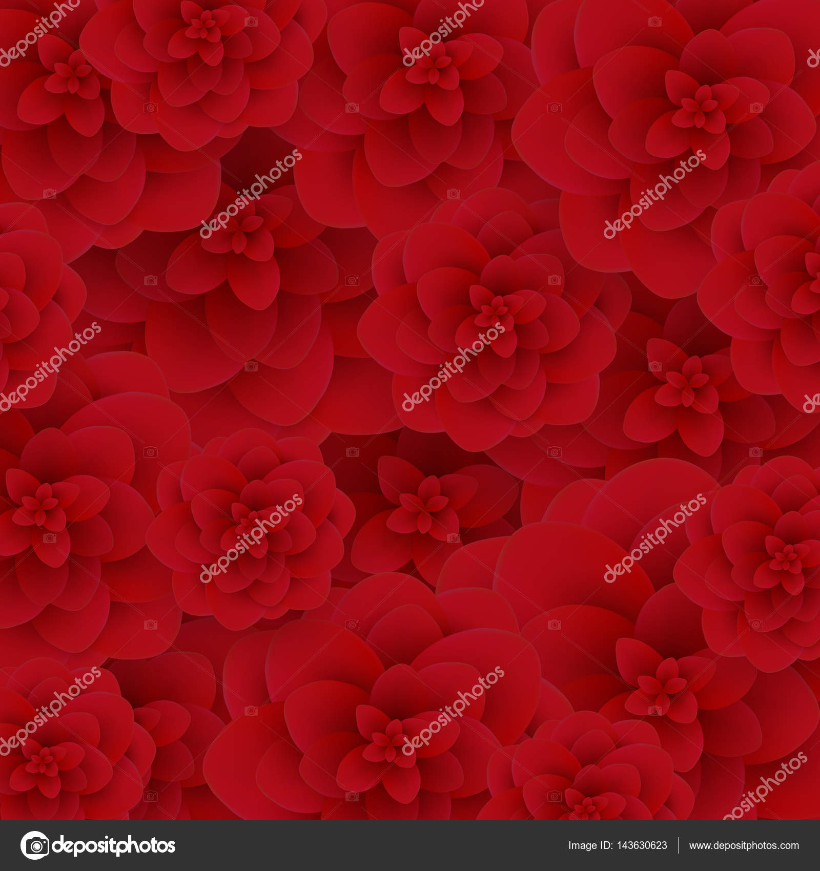 Seamless Wallpaper Pattern Red Roses On Design Background Vector Illustration Stock
