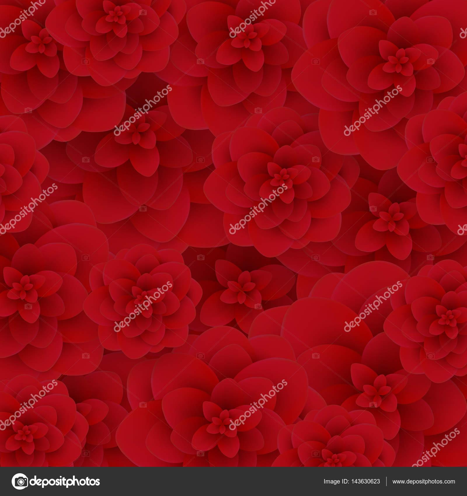 Seamless Wallpaper Pattern Red Roses On Design Background Vector Illustration Stock